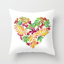 Heart leaves watercolor Throw Pillow