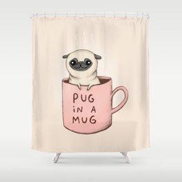 Pug in a Mug Shower Curtain