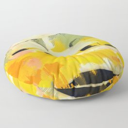 landscape abtract - paysage jaune Floor Pillow