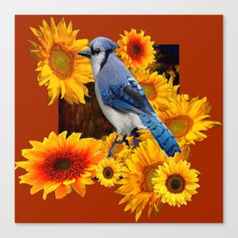 COFFEE BROWN SUNFLOWERS  & BLUE JAY Canvas Print
