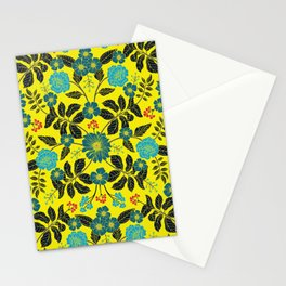 Bright Yellow, Red, Turquoise & Navy Blue Floral Pattern Stationery Cards