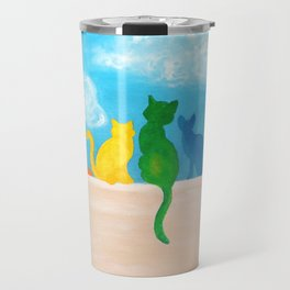 Catch A Rainbow - Cats on a Wall Travel Mug