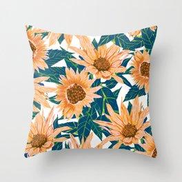 Blush Sunflowers Throw Pillow