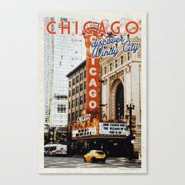 Chicago, USA Travel Poster v16 Canvas Print