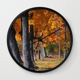 Autumn Golden Leaves Wall Clock