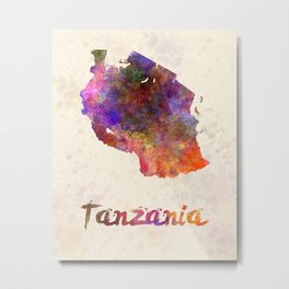 Tanzania  in watercolor Metal Print
