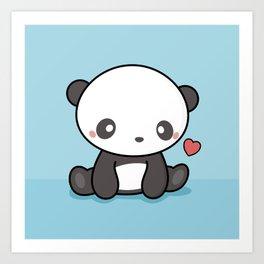 Cute Kawaii Panda With Heart Art Print