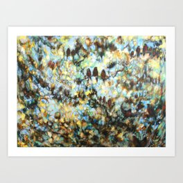 """Rondo"" oil painting of birds in abstract trees and sky Art Print"