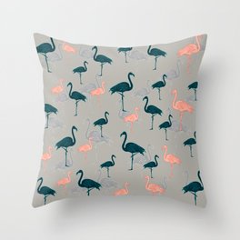Tropical Gathering Flamingo Design Throw Pillow