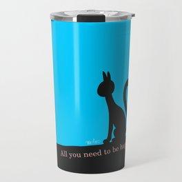 Cat calmly watching in silence Travel Mug