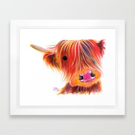 Scottish Highland Cow ' SWEET SATSUMA ' by Shirley MacArthur Framed Art Print