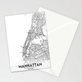 Minimal City Maps - Map Of Manhattan, New York, United States Stationery Cards