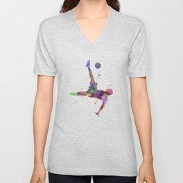 man soccer football player flying kicking Unisex V-Neck