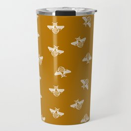 Bee pattern in gold yellow background Travel Mug