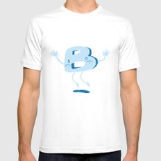 B Happy! White MEDIUM Mens Fitted Tee