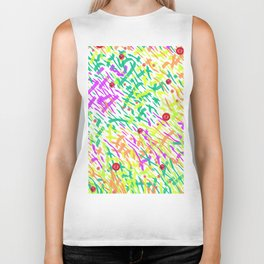 Meadow Grass With Poppies Mixed Media Collage Biker Tank