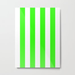 Vertical Stripes - White and Neon Green Metal Print