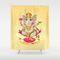 ganesh Shower Curtains featuring Ganesh by Danilo Sanino