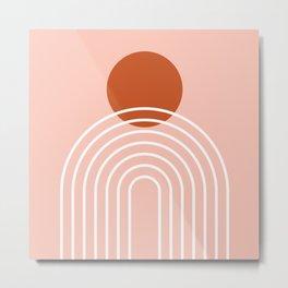 Mid Century Modern Geometric 38 in Terracotta Rose Gold (Rainbow Sun Abstraction) Metal Print