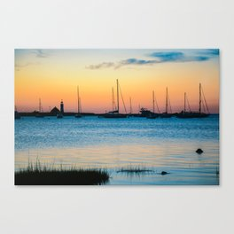 Scituate Lighthouse Silhouette Canvas Print
