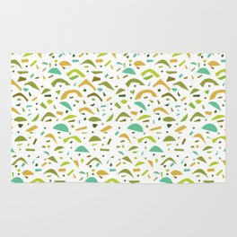 Abstract Green and Orange Pattern Rug