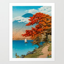 Lake Chuzenji at Nikko by Kawase Japanese Woodblock Print Vintage East Asian Cultural Art Art Print