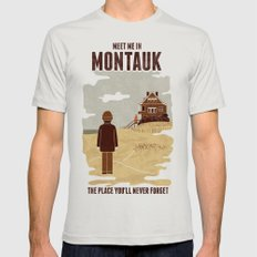 Montauk MEDIUM Mens Fitted Tee Silver