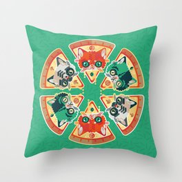 Pizza Slice Cats  Throw Pillow