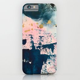 Candyland: a vibrant, colorful abstract piece in blue teal pink and gold by Alyssa Hamilton Art iPhone Case
