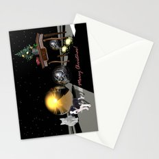 A Sci-Fi Christmas scenery with a cat and a dog Stationery Cards