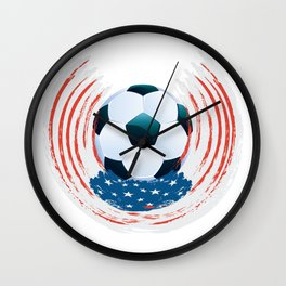 Football Ball and red, white Strokes Wall Clock