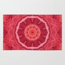 Rose Red Pixel Mandala Rug