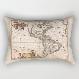 1658 Visscher Map of North & South America with enhancements Rectangular Pillow
