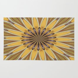 Yellow and Ochre Flower Pattern Abstract Rug