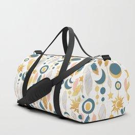 Bohemian spirit IV // white background salmon pink & gold feathers Duffle Bag
