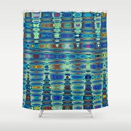 Abstract High Texture Weaving Pattern Blue Green Shower Curtain