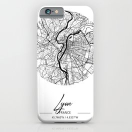 Lyon Area City Map, Lyon Circle City Maps Print, Lyon Black Water City Maps iPhone Case