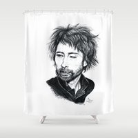 radiohead Shower Curtains featuring Thom Yorke [Radiohead] by ieIndigoEast