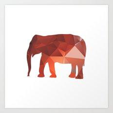 Elephant - Red geomatric Art Print