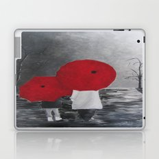 Black White Red mother and child with Umbrella print of painting rainy cloudy surrealism Laptop & iPad Skin