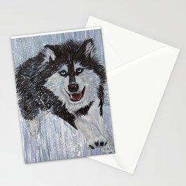 Husky Running Stationery Cards