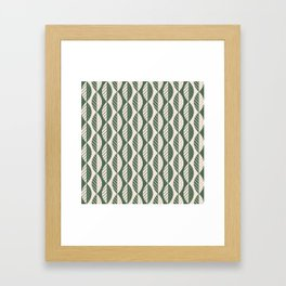 Mod Leaves in Olive and Cream Framed Art Print