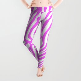 Pink neon color zebra pattern Leggings