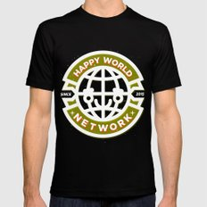 HAPPY WORLD NEWS NETWORK MEDIUM Mens Fitted Tee Black