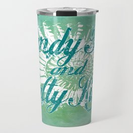 Sandy Toes and Salty Kisses with Nautilus Shell Graphic Design Travel Mug