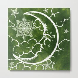 Moon vintage green Metal Print