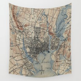 Vintage Map of New Haven Connecticut (1890) Wall Tapestry