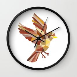 Sparrow Flying Low Polygon Wall Clock