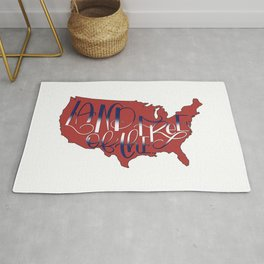 Land of the Free, USA, 4th of July RED Rug