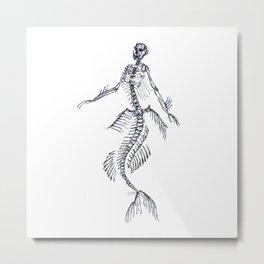 Mermaid Taxidermy | @makemeunison Hand Drawn Art Metal Print